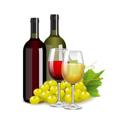 Wine bottles glasses and grapes isolated on white vector