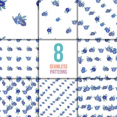 Set of eight seamless patterns with blue flowers