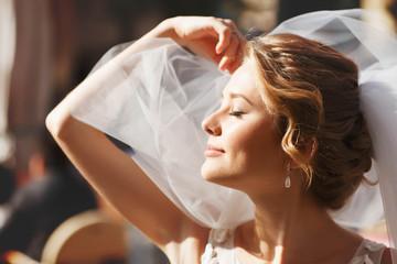 beautiful stylish caucasian happy romantic young blonde bride