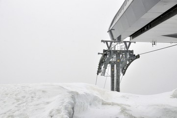 Detail of alpine skiing elevator in mountains