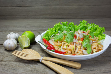 salad with dried shrimp on table
