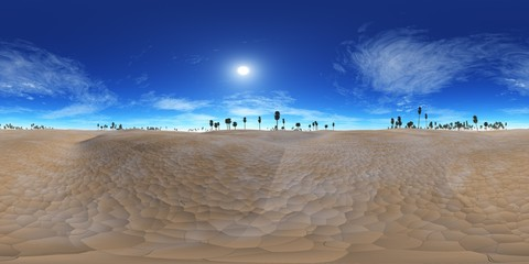 HDRI High resolution map. environment map, Panorama desert sunset in the desert, pyramid and palms,