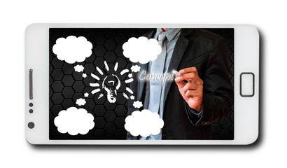 Wall Mural - Business concept on mobile phones