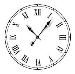 Grunge old vintage clock white background