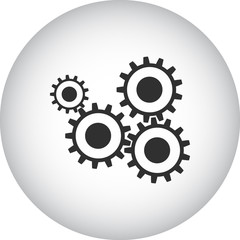 Cogwheel gear mechanism sign simple icon on round background