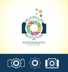 Photo camera floral logo