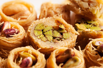 Oriental sweets with nuts close-up macro shot
