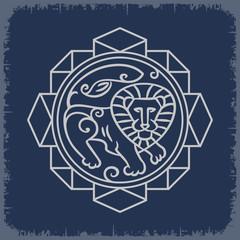 Образ Льва в геометрической композиции на темном фоне
