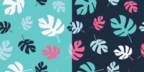Set of two seamless backgrounds with decorative palm leaves. Print. Cloth design, wallpaper.