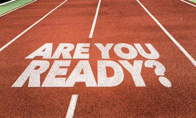 Are You Ready? written on running track Wall mural