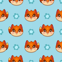 Seamless pattern with funny fox faces
