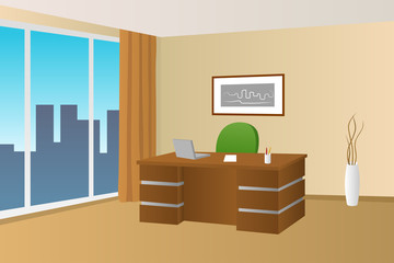Office room beige interior table chair window illustration vector