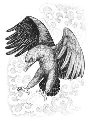 Flying, attacking eagle with ethnic ornaments