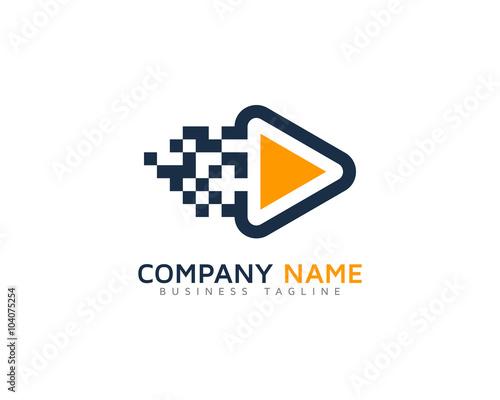 Video Motion Pixel Logo Design Template\
