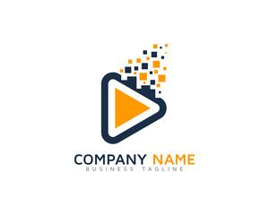 Video Pixels Logo Design Template