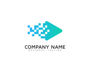 Pixel Video Logo Design Template