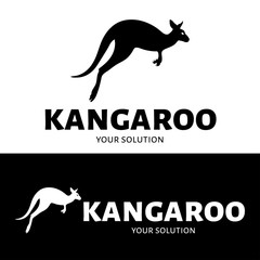Vector logo of a kangaroo. Brand logo in the shape of a kangaroo jumping