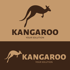 Vector logo of a kangaroo. Brand logo in the shape of a kangaroo jumping