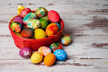 Easter eggs on rustic wooden background