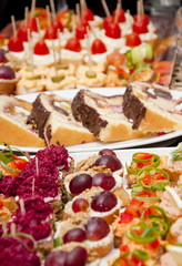 Full tray of fresh food as a vegetarian beetroot and smoked salmon canapes as well as chocolate homemade dessert with fruit and cream, colorful table