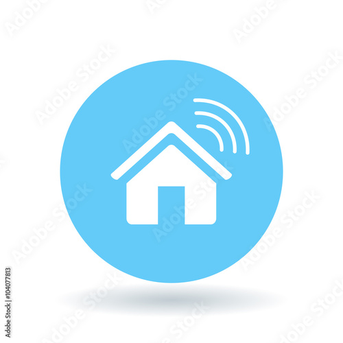 smart home icon wireless house sign home automation app symbol white smart home icon on blue. Black Bedroom Furniture Sets. Home Design Ideas