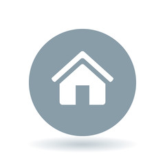 House icon. Home sign. Homepage symbol. White home icon on cool grey circle background. Vector illustration.