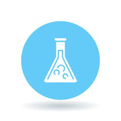 Laboratory beaker icon. Lab beaker sign. Science beaker symbol. White laboratory beaker icon on blue circle background. Vector illustration.