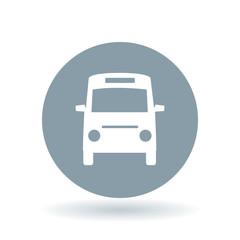 Minibus icon. Passenger vehicle bus sign. Public transport bus symbol. White minibus icon on cool grey circle background. Vector illustration.