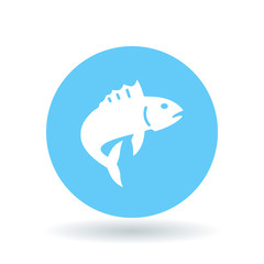 Fish icon. Fish jump sign. Fishing symbol. White fish icon on blue circle background. Vector illustration.