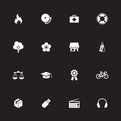 white simple flat icon set 6 for web design, user interface (UI), infographic and mobile application (apps)