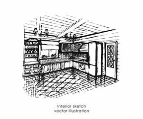 Hand drawn interior sketch. Home design billiard zone, provence style