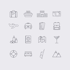 Line icons set in flat design. Elements of Vacation, Travel, Hot