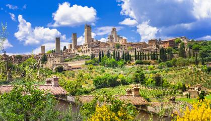 beautiful Italy landscapes. San Gimignano - Tuscany Wall mural