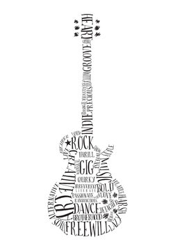 Creative Rock music poster template. Electric guitar made with words. Vector typography illustration.