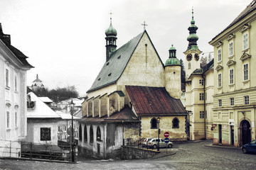 From sketch to the Banska Stiavnica city, Slovakia, illustration