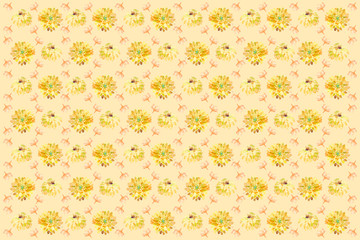Watercolor pattern and background of flowers