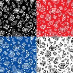 Bandana Seamless Pattern / Seamless bandana pattern in 4 color versions.