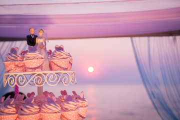 Bride and groom cake in wedding arch with sunset background
