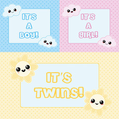 Baby cards - it's a boy, it's a girl and it's twins