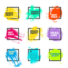 Vector set of paint and square frame for banner, label, tag, poster, headline, message, quote design.