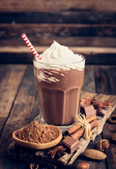 Foto auf Acrylglas Milch / Milchshake Chocolate milkshake with whipped cream