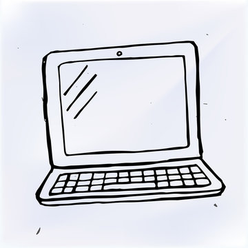 hand draw doodle laptop, computer vector illustration computer