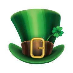 St. Patrick's Day green leprechaun hat with clover