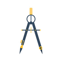 Drawing compass. Flat icon vector. Technical tool architect, eng