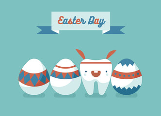 Bunny tooth and eggs of Easter day ,dental Easter