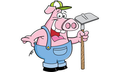 Cartoon illustration of a pig in overhauls holding a sign.
