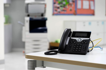 IP phone on desk in office