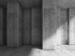 Abstract concrete 3d interior with many corners