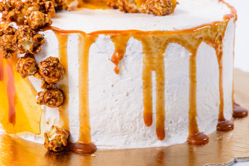 closeup Sand cake with caramel popcorn, selective focus