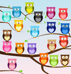 Vector set of cute cartoon owls